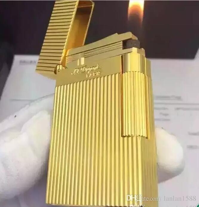 New ST memorial lighter Pure copper LING2 golden series bright sound gas lighter