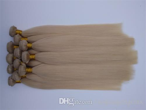 !Wholesale cheap Unprocessed Brazilian Virgin Hair Weave Weft 613# 3 4 silky Straight Peruvian Malaysian Indian hair