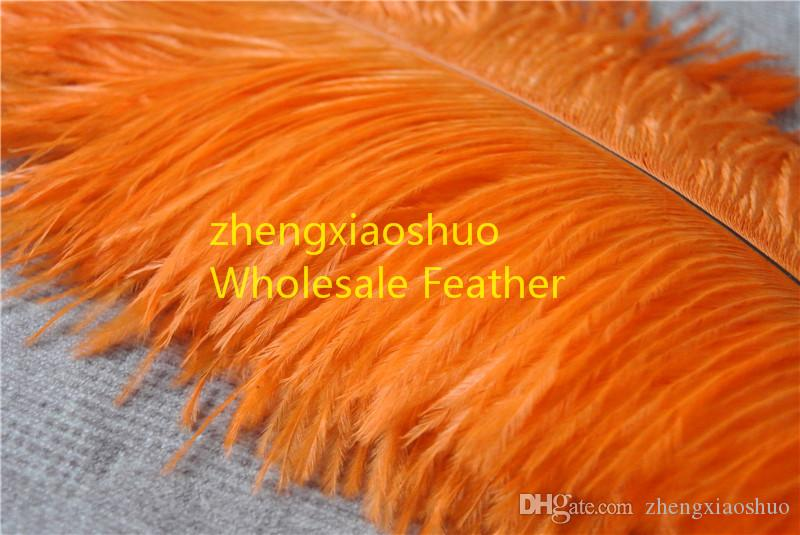 wholesale 14-16inch 35-40cm orange Ostrich Feather Plumes for Wedding centerpiece christmas decoraction wedding feather decor