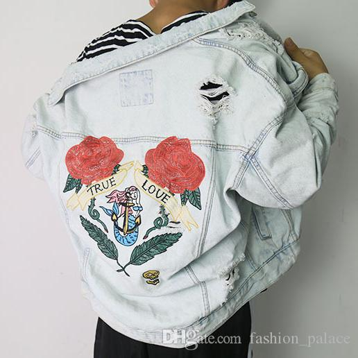 Rose Embroidered Ripped Denim Jacket For Men Boyfriend Style