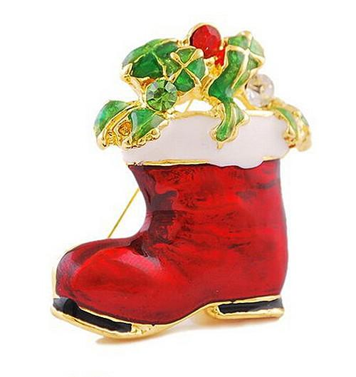 Red Enamel Santa Claus Boot Wrapped Gifts Glass Stones Christmas Pin Brooch Shoes Gift For Christmas