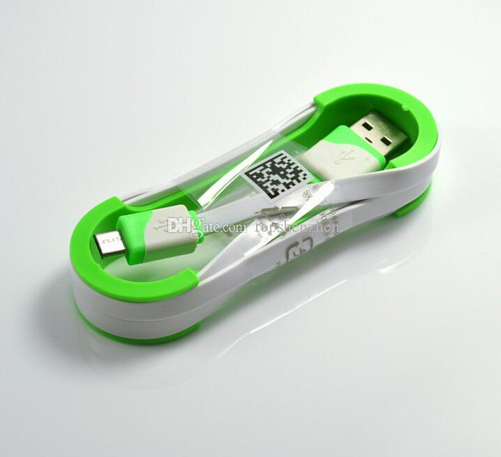 Double Couleur Noodle plat Micro USB Chargeur Câble 1M 3FT Sync Cordon de charge pour Samsung S5 S6 HTC M8 M9 téléphones Android Micro Câble USB