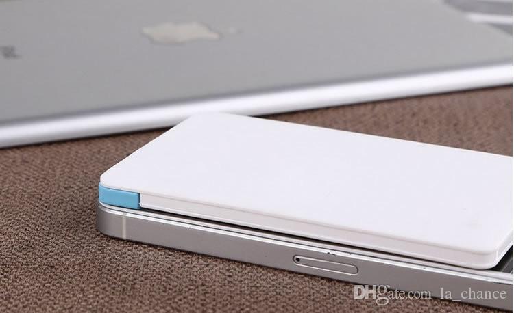USB Kablo Yedekleme Acil Süper Hafif Küçük Dahili ile 2500mAh Ultra İnce Kredi Kartı Güç Bankası USB Promosyon PowerBank
