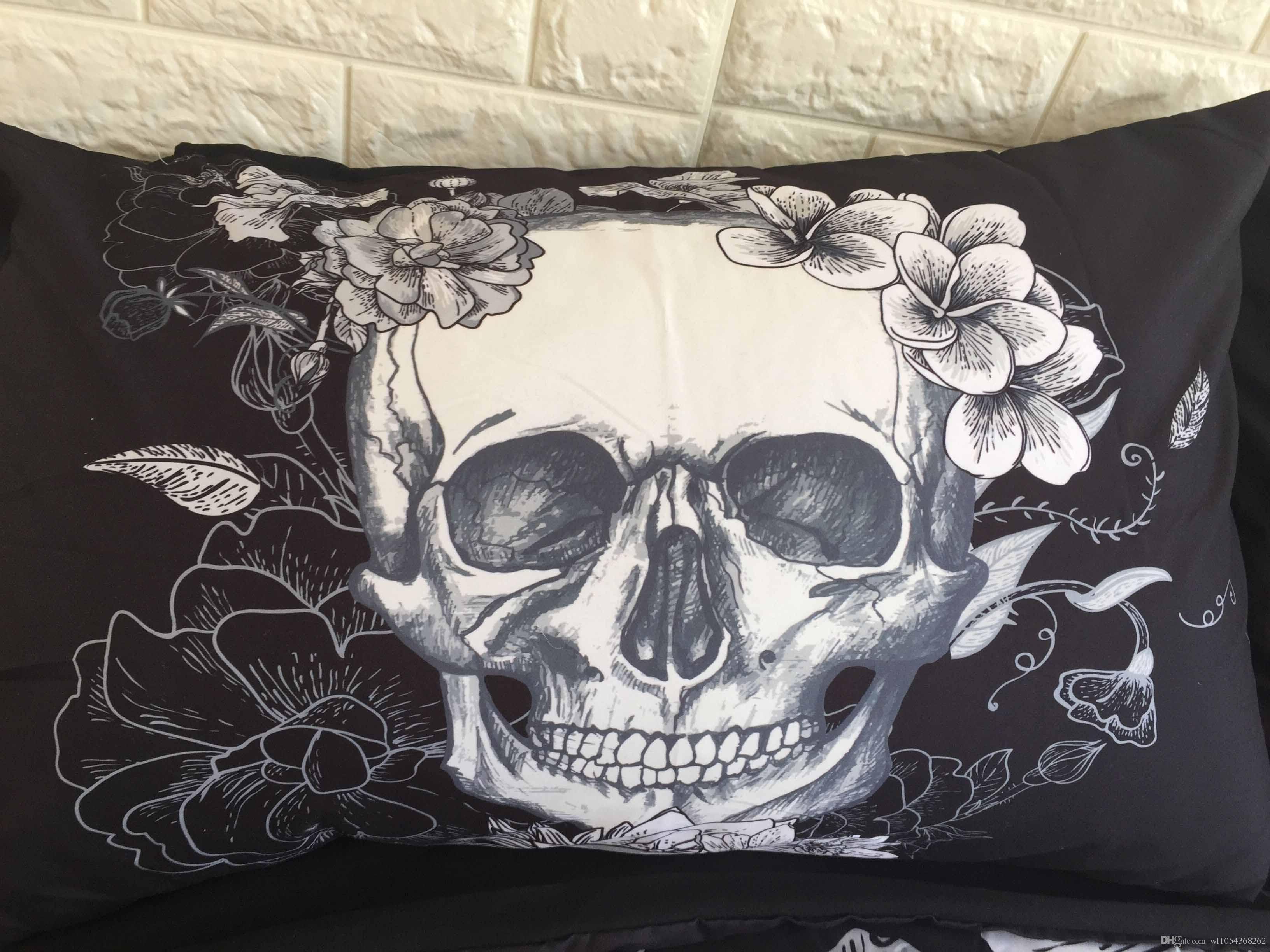 Sugar Skull Sets de funda nórdica Juegos de cama de cráneos en blanco y negro en 3D Fundas nórdicas a cuadros para camas tamaño queen tamaño king king size funda de almohada