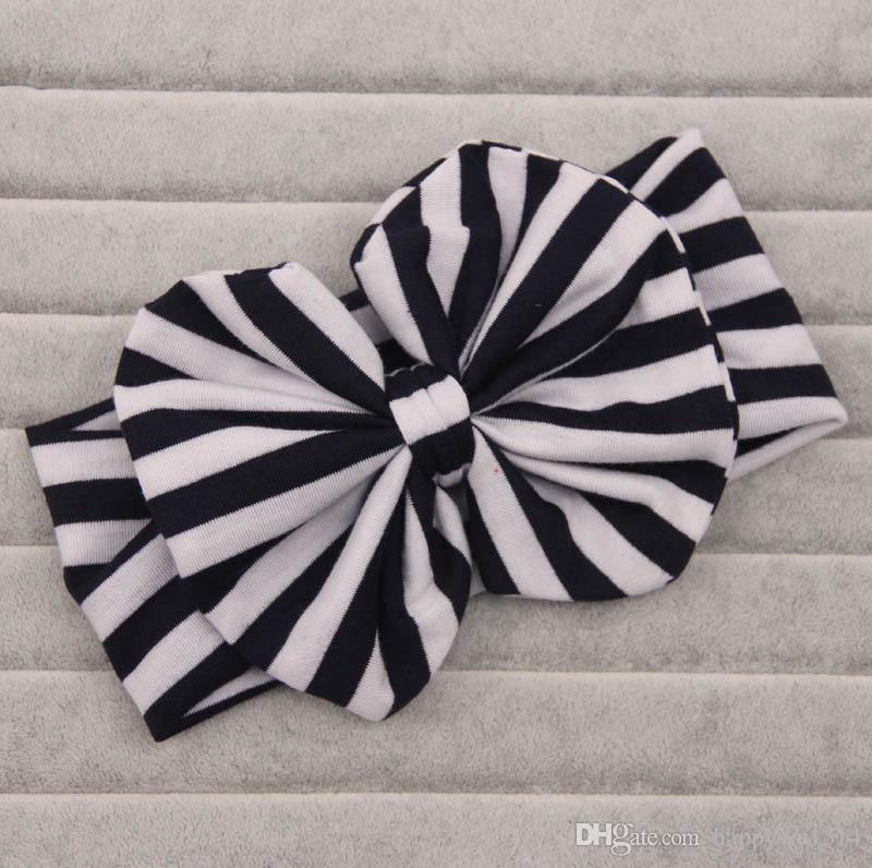 Baby Girls Stripes Big Bows Headwrap Baby girl Cotton Headbands Twist knot Head Wrap Soft cotton Hairband lovely hair accessories
