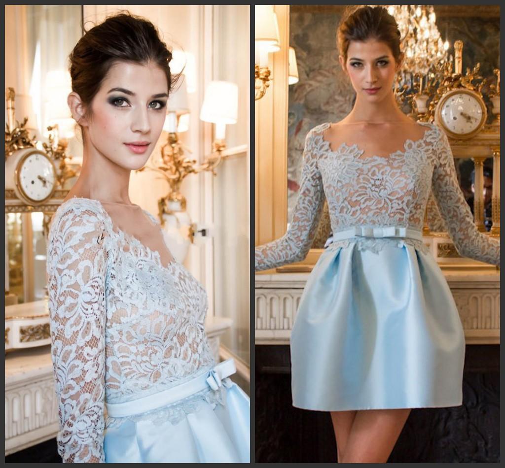 Großhandel 2015 Sexy Dame Sky Blue Spitze Berühmtheit Kleid Bateau ...