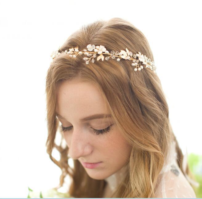 2016 Beaded Hair Jewelry Cheap Bridal Accessories For Wedding Pearls Beads Headpiece Rhinestones Hand Made Haiwear Modest