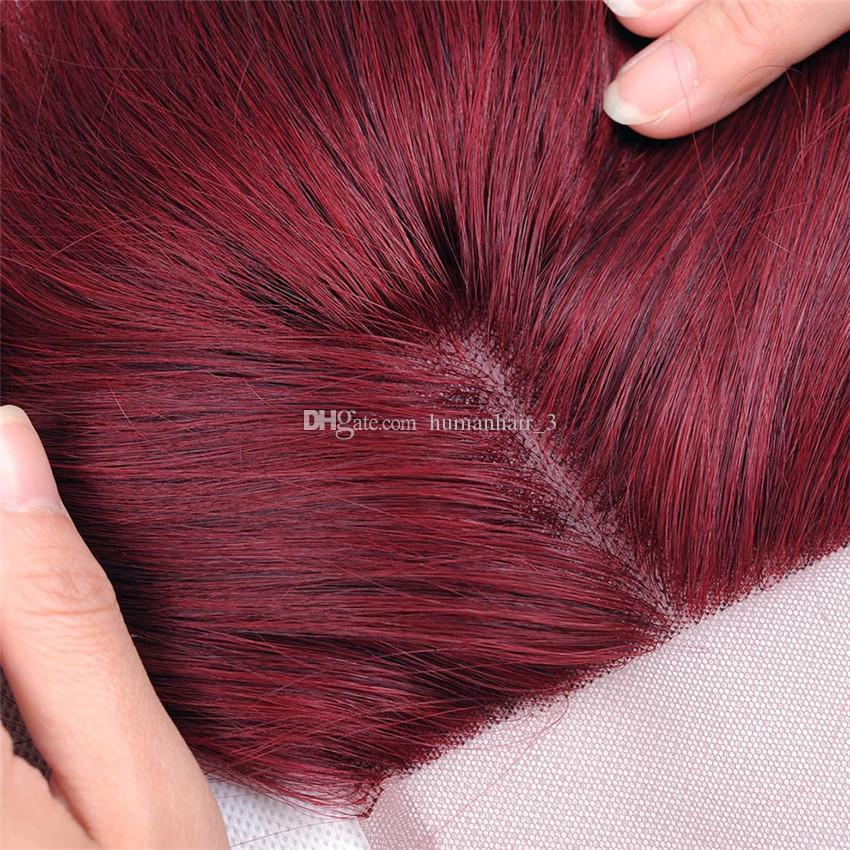 9а бразильский Бургундия с закрытием шнурка 4x4 дюймов объемная волна #99J вино красные человеческие волосы пучки с кружевной топ закрытие естественный Волосяный Покров