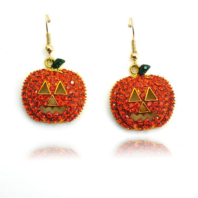 Moda Pozłacane Charms Kolczyki Dangle Orange Rhinestone Smile Dyni Kolczyki Dla Kobiet Biżuteria Halloween Prezenty