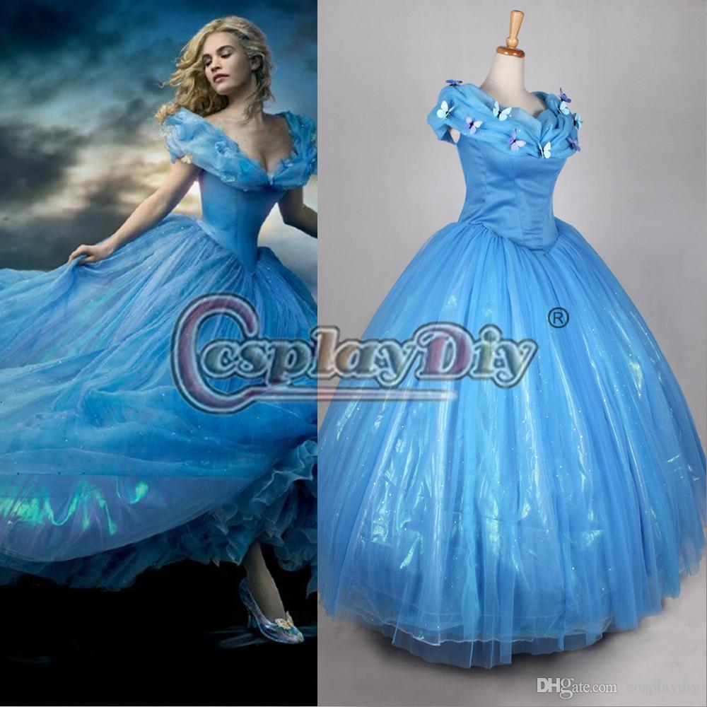 Princess Cinderella Wedding Dress Costume For: 2015 Newest Movie Cinderella Princess Dresses Blue Deluxe