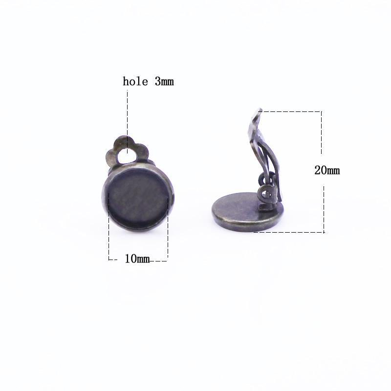 Beadsnice mässing Clip-on örhänge Komponenter basdiameter 10mm klipp örhängen för smycken gör bly-säkra nickelfri ID9707