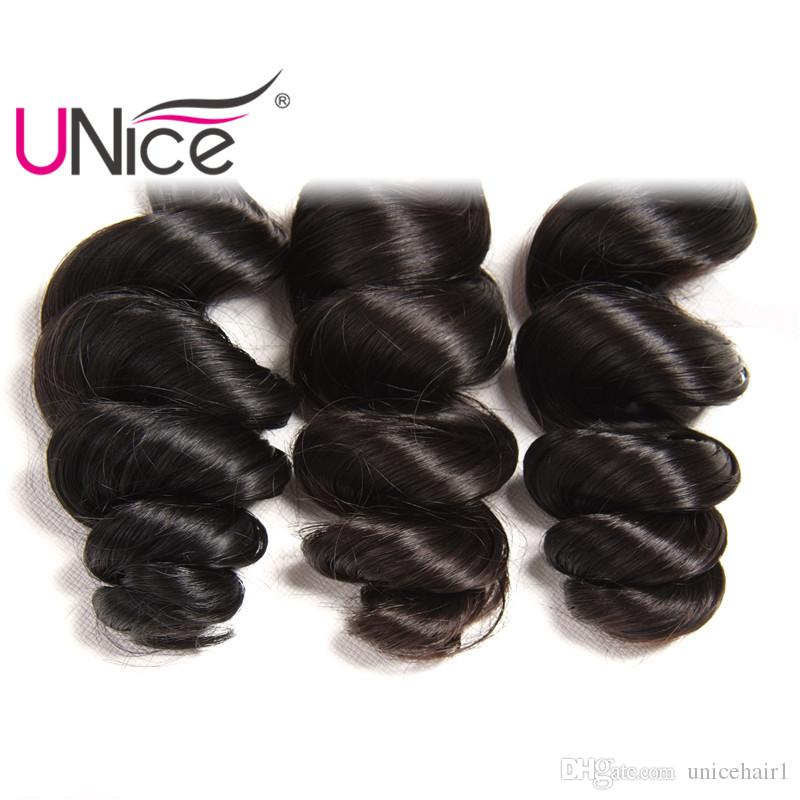 UNice Hair Malaysian Virgin Loose Wave Brazilian Remy 16-26 inch Peruvian Human Hair 3 Bundles Hair Extensions Indian Mix Length 4 Bundles