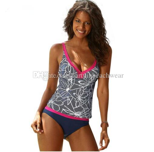 a3aaf55be883a 2019 S 5XL Sexy Striped Tankini Bathing Suit Brazilian Bikini Sport Shorts  Swimsuit Women Ladies Swimming Sets New Beachwear Plus Size Swimwear From  ...
