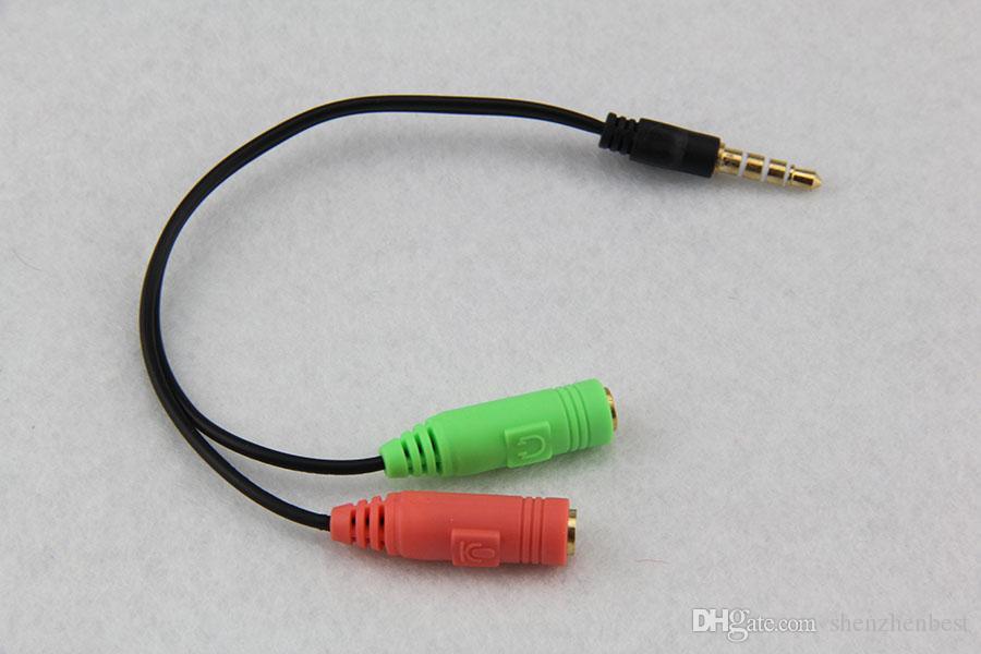 Мужской наушники гарнитура 3.5 мм 2 в 1 женский двойной PC адаптер аудио кабель горячей во всем мире продвижение 100 шт.