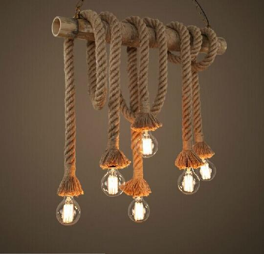 New design retro single heads rope pendant lights loft - Corde decorative ...