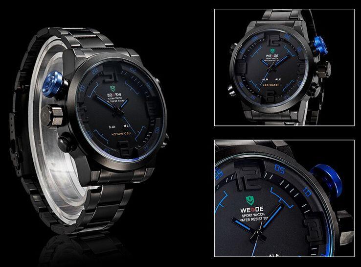 WEIDE WH2309 Relogio reloj militar multifunción para hombres de cuarzo Relojes informales moda hombres relojes de acero LED de pulsera