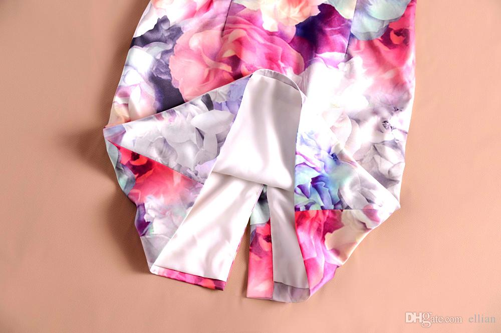 Mode fleur impression femmes robe fourreau col en V robes 120912