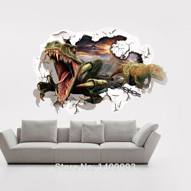 Compre Wall Sticker 2016 3d Wall Art Dinossauro Jurassic World Cartoon  Sticker For Kids Room Sala De Estar Decoração De Quarto Kids Wall Decals De  ...