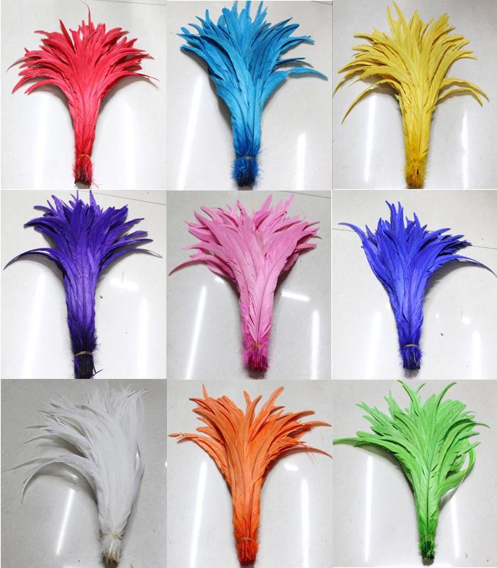 Envío gratis 100 unids alta calidad hermosa decoloración plumas de la cola del gallo 30-40 cm / 12-16 pulgadas de color que elija la pieza central de la boda dec