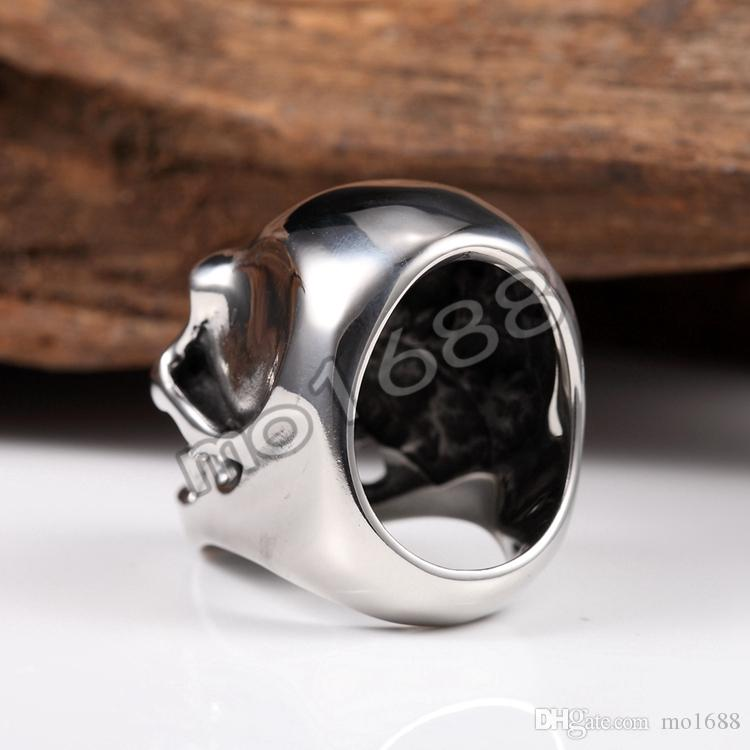 316L Silver Stainless Steel Heavy Black Large Skull Head Men's Biker Ring Size 7-13