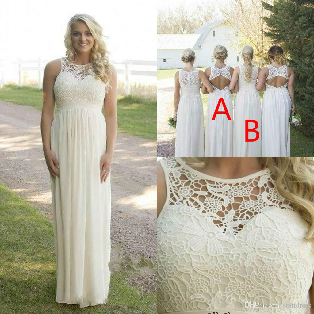 Best Beige Floor Length Chiffon Boho Country Bridesmaid Dresses Sheer Neck Different Style Backless Prom Dresses Cheap maid of honor Evening
