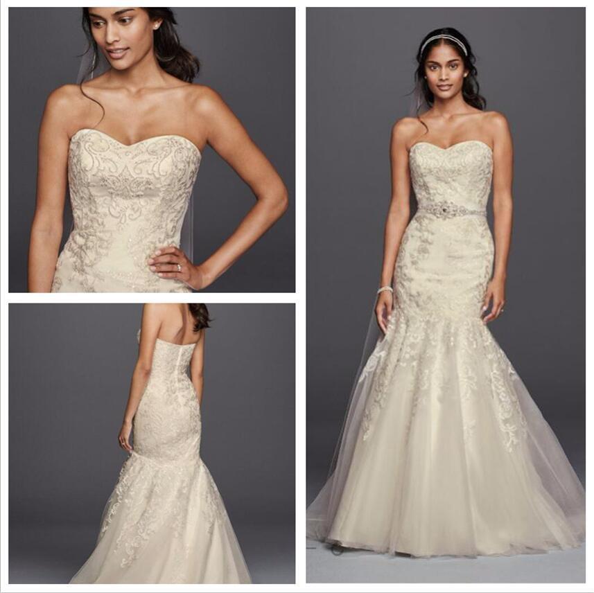 2016 Mermaid Wg3800 Davidsbridal Wedding Dresses Allover Beaded Lace ...