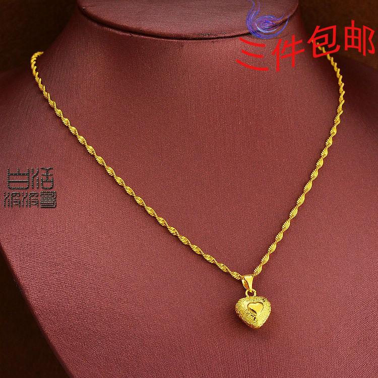 Wholesale Women Hollow Double Heart Gold Necklace With A Gold