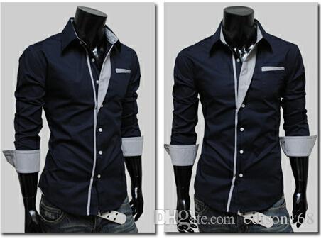 Ny Mode Mäns Slim Bomull Långärmad T-shirts Passa Stylish Dress Shirt YF140