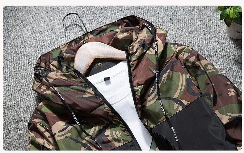 2018 Patchwork Camo Veste De Haute Qualité À Capuche Zipper Windbreaker Veste Hommes Femmes Mode Varsity Vestes Casual Manteau NSG0903