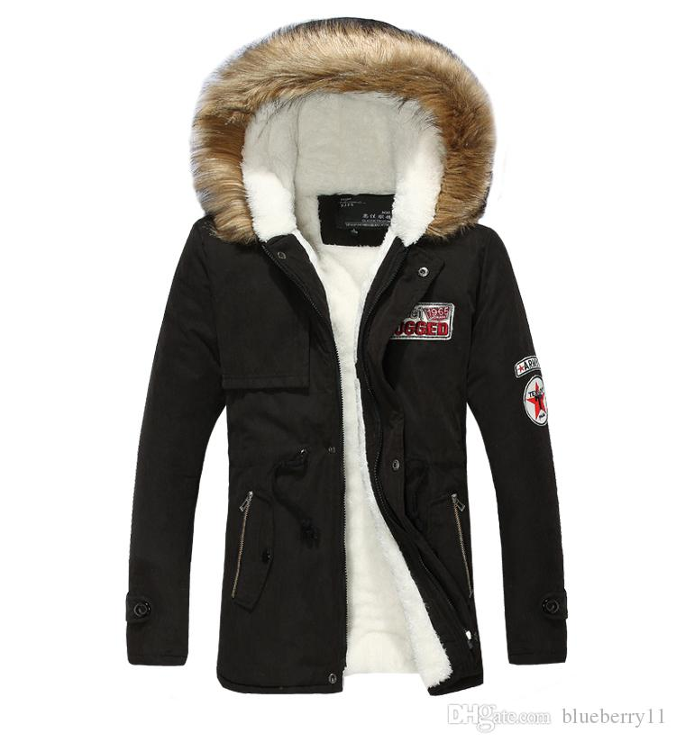 best sneakers 6c5a4 1ee77 Inverno Uomo caldo Parka collo di pelliccia con cappuccio nero spesso  anatra giù cappotto Outwear giù giacca confortevole uomo caldo cappotto  moda ...