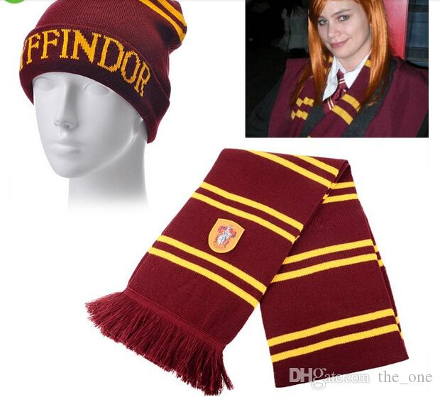 HARRY POTTER Gryffindor Hat And Scarf Winter Warm Wool Knit Hat Outdoor  Striped Tassel Scarf Knitted Beanie Hats 4 Styles Harry Potter Scarf Hat  Harry ... e5c88e1960eb