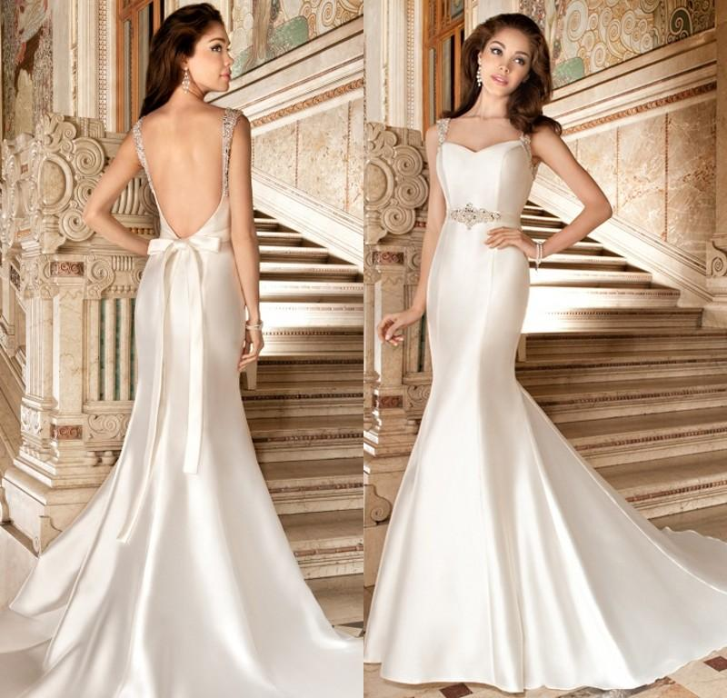 Simple Wedding Dresses For Fall: Simple Satin Wedding Dresses Backless Beaded Two Straps