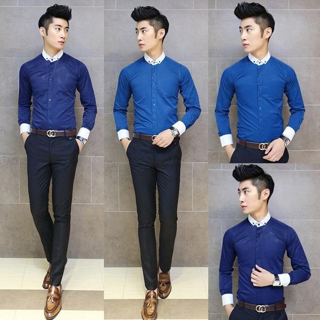 2018 Men Formal Shirts 2014 New Autumn Fashion Elegant Slim Fit Long