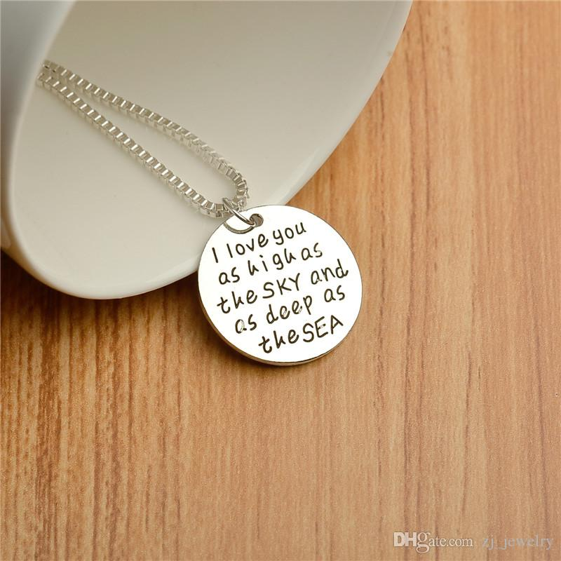 hand stamped 'i love you as high as the sky and deep as the sea 'silver round coin Pendant Necklaces chrismas gift