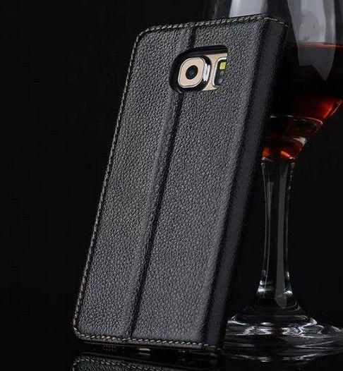 Simple Noble Pour Samsung Galaxy S6 Cas Véritable Portefeuille Flip Ultra-Mince Mignon Couverture Colorée Etui En Cuir Pour Samsung Galaxy S6 G9200