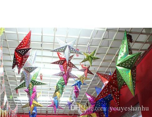 Venda quente de Natal Estrela de Papel Natal Tridimensional Laser Estrela De Cinco Pontas Santa Xmas Decorações 2016 mais novo