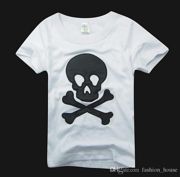 Coton pur été enfants dessin animé tshirt brodez barbe crâne manches courtes t-shirts shirts tops crâne t-shirts coton jersey bébé garçons t-shirt