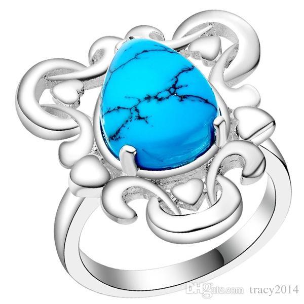 الفيروز خمر العتيقة خواتم فضية الكمثرى البيضاوي مربع خمر واحدة Turqus المختلطة خمر الأحجار الكريمة أنماط خواتم الفيروز خواتم