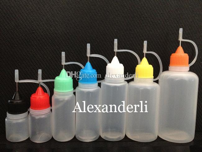 100 pezzi vuoti Bottiglie con punta d'ago Comodo da riempire con E Juice Plastic Bottle 5ml 10ml 15ml 20ml 30ml 50ml