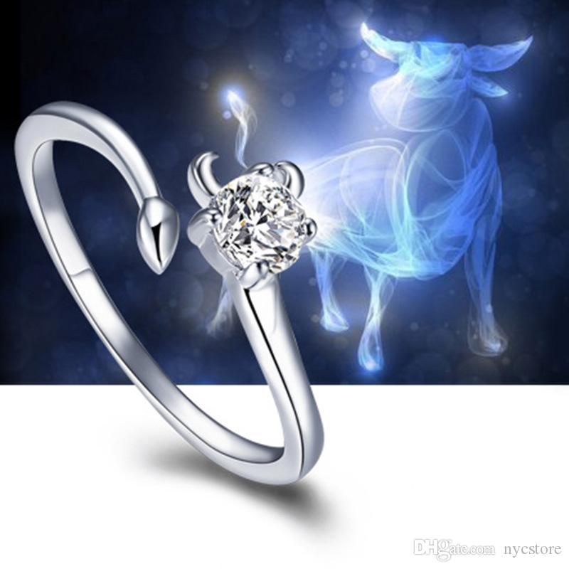 Neuester 925 Sterlingsilber-Tierkreisöffnungsringgroßverkauf LEO-Horoskop-Frauenring mit Kristallrhinestone