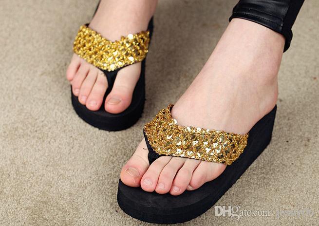 6df4a426000553 Sequins Sandals Beach Slippers Flip Flops Women Girls Wedge Shoes Shower  Slipper High Heel Shoes Summer Wear Gifts Online with  4.88 Pair on  Jessie06 s ...