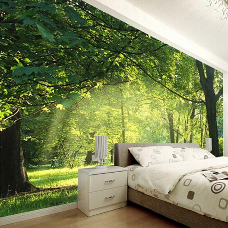 Custom photo wallpaper idyllic natural scenery and flowers for Nature room wallpaper