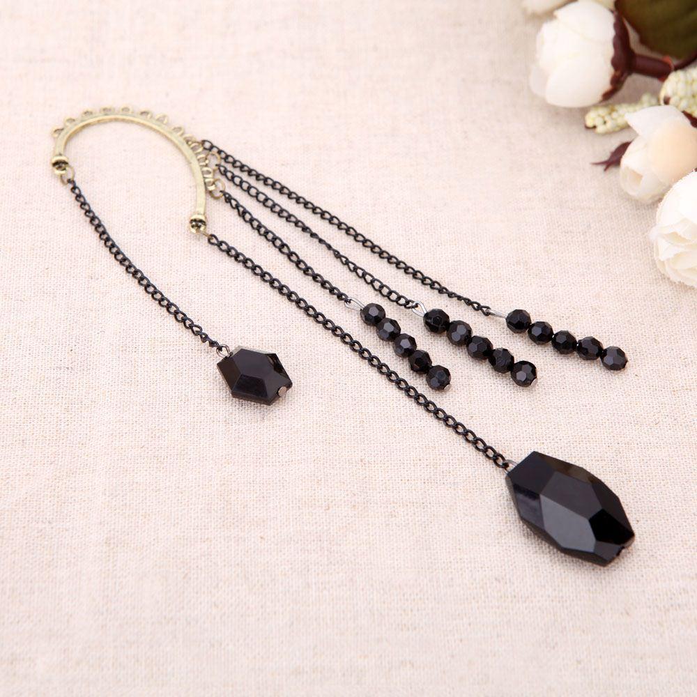 Fashion Pendientes Brincos Acrylic Vintage Tassel Hook Clip Big Earrings for Women Black Gem Bead Ear Cuff LYE170 order<$18no track