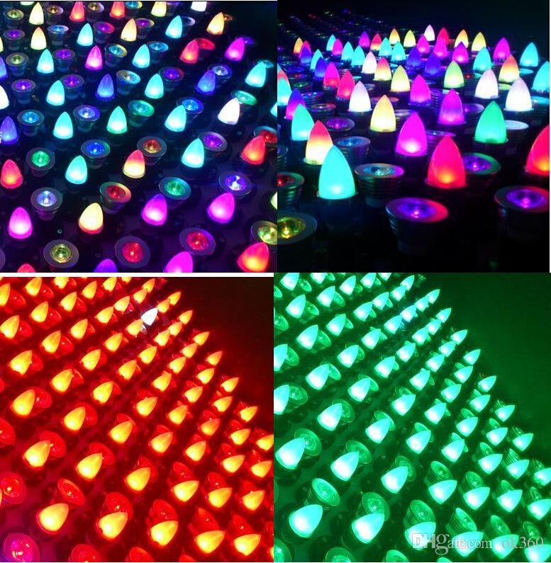 3W RGB führte Kerzenlichter E27 / E26 / E14 / MR16 / GU10 führte Punkt-Birnen-Lampe RGB bunte geführte Kugel-Lampe AC85-265V Fernbedienung