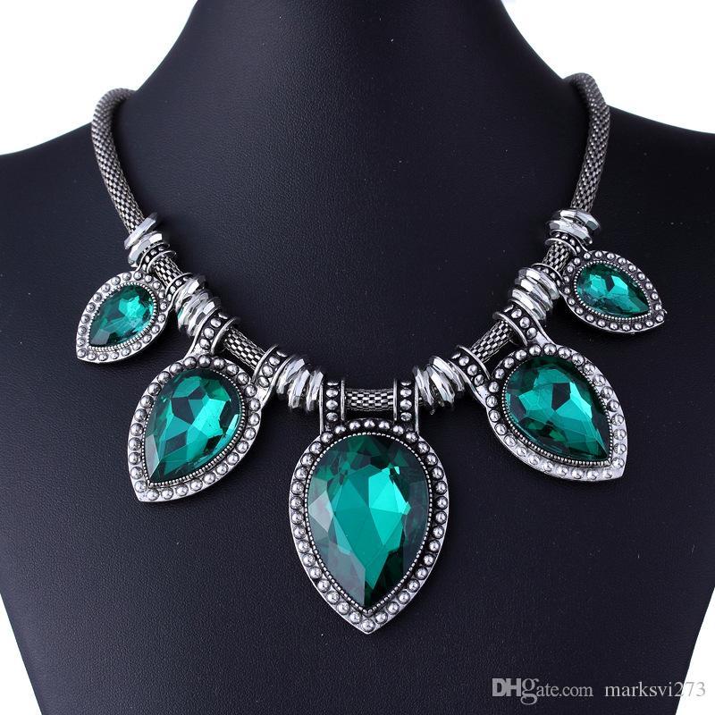 Gioielli vintage esagerati le donne Collana di pietre preziose Dichiarazione d'argento Collane pendente Choker XL5157