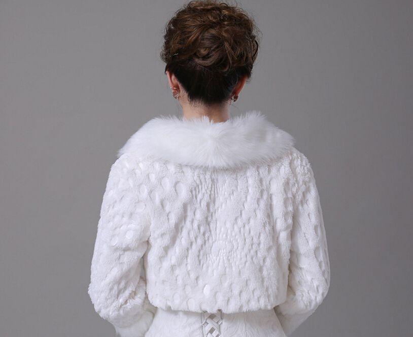 Short White Winter Bridal Jacket Warm Soft Faux Fur Shrug Shawl Bride Prom Party Bridal Women Bolero