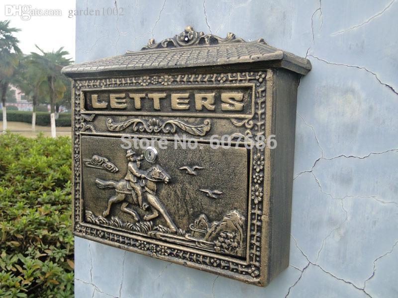 2019 Vintage Bronze Look Cast Iron Mailbox Postbox Mail