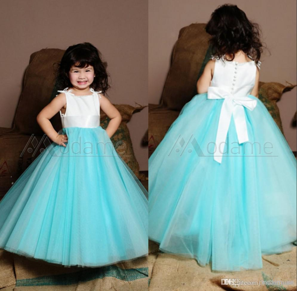 Sweet Kids Party Satin Tulle White And Turquoise Sleeveless Ruched ...