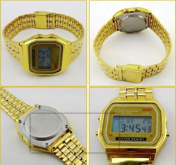 4362dd7f5564 Compre TOP A159W Relojes Para Hombre Reloj Retro Digital De Acero  Inoxidable Clásico Vintage Oro Y Plata Alarma Digital A159W LED Reloj Para  Deportes A159 ...