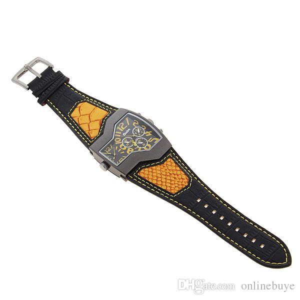 Mode 5 Kleuren Super Cool Mannen Quartz Horloges Oulm Double Time Show Snake Band Casual Mannen Sport Horloges Male Military Clock